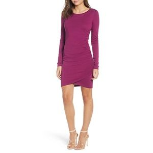 Leith Ruched Long Sleeve Dress Purple Magneta
